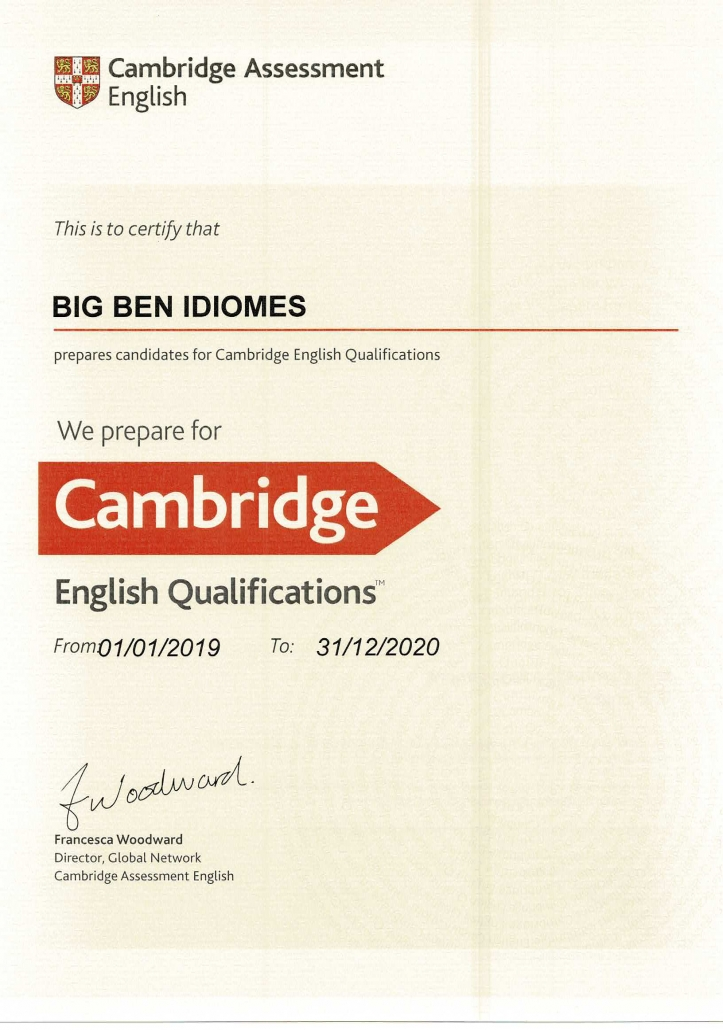 Centre preparador exàmens Cambridge English escola Big Ben Idiomes